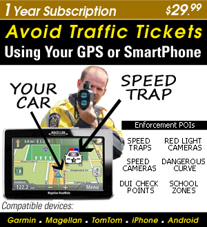 Turn your Smart Phone or GPS into a Speed Trap & Red Light Camera detector-1 Year Subscription- $29.99 - Download over 400,000 + enforcement locations (POI) US/Canada �