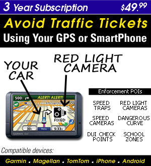 Turn your Smart Phone or GPS into a Speed Trap & Red Light Camera detector-3 Year Subscription-$49.99 - Download over 400,000 + enforcement locations (POI) US/Canada �